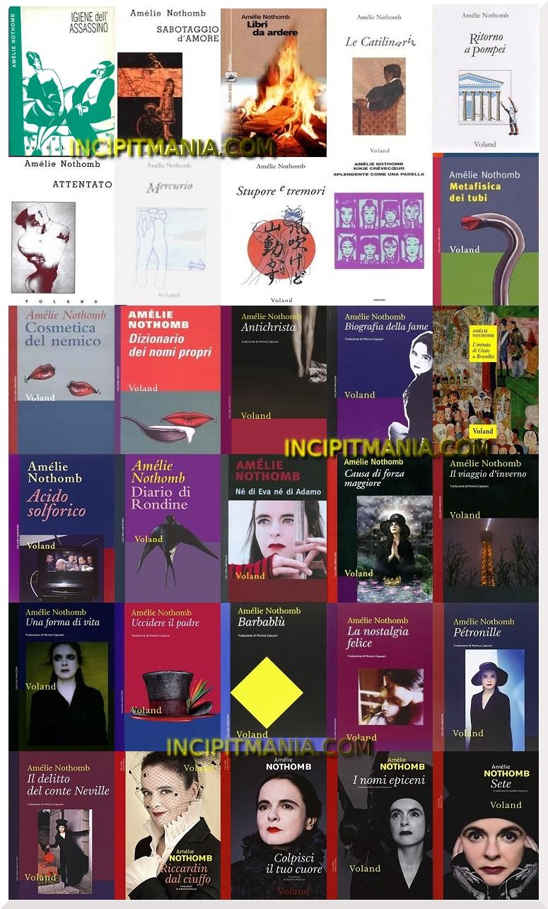 Amélie Nothomb copertine delle prime edizini delle opere