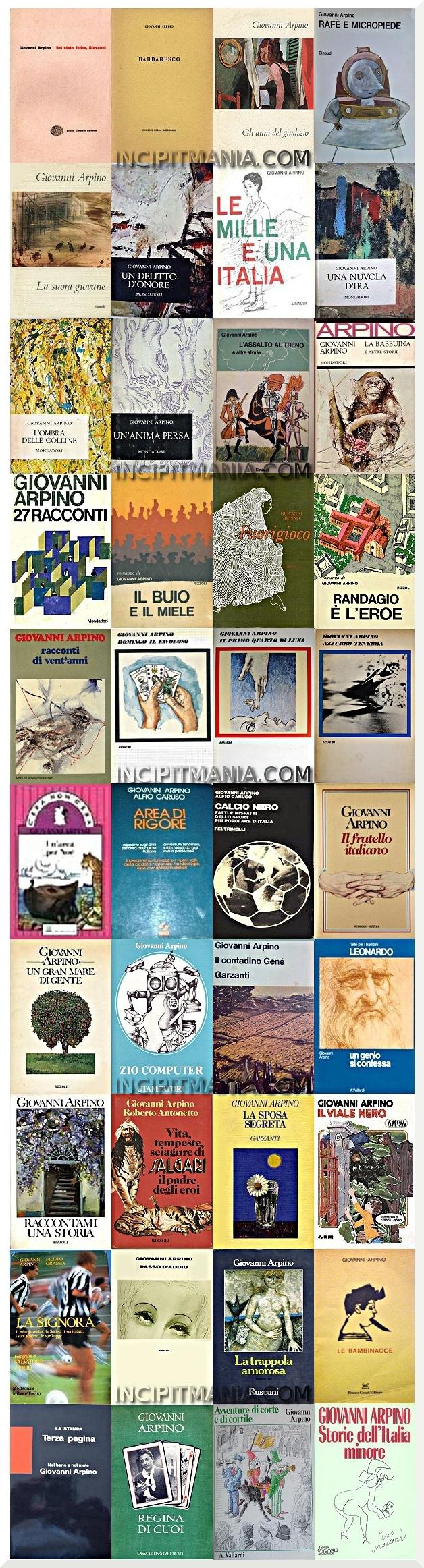 Copertine della bibliografia di Giovanni Arpino