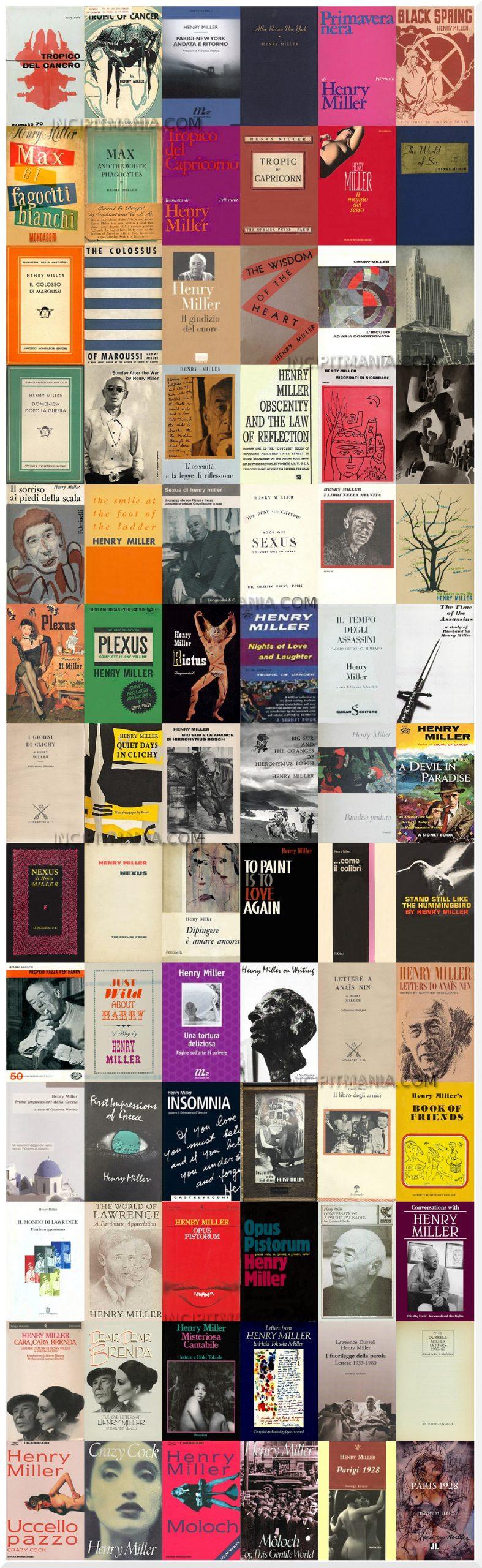 Copertine primeedizioni opere Henry Miller