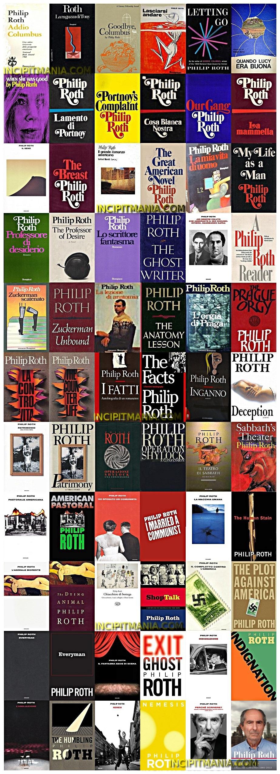 Philip Roth copertine della bibliografia