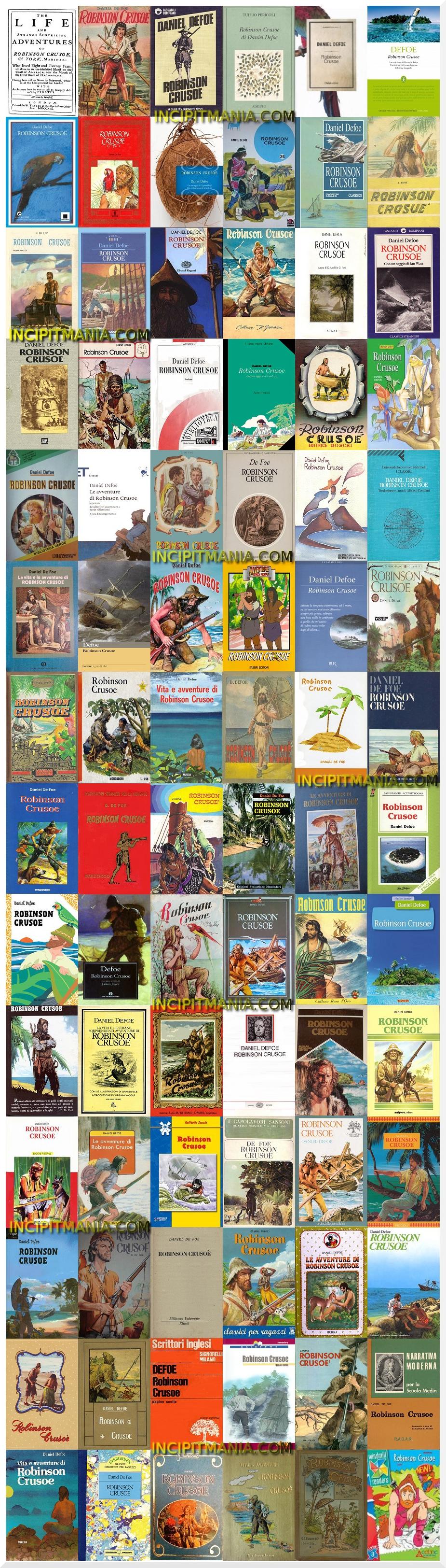 Copertine di Robinson Crusoe di Daniel Defoe