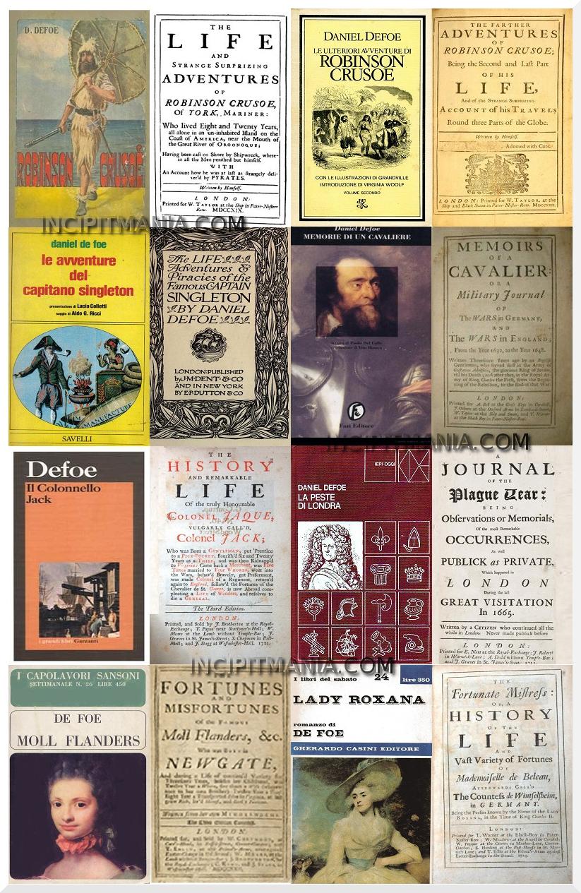 Copertine della Bibliografia di Daniel Defoe
