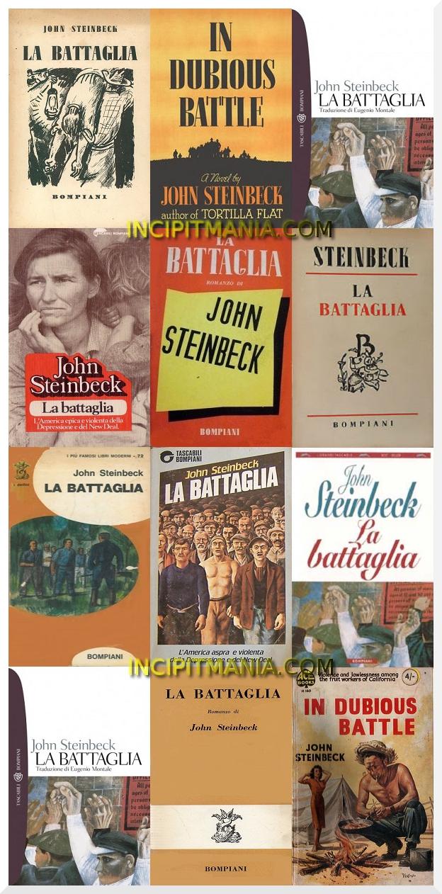 La battaglia. Incipit e quarta di copertina di: La battaglia di John Steinbeck e incipit in inglese con illustrazione delle copertine del romanzo.
